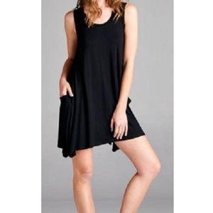 Women's Tank Dress Cover Up Pockets Black M NWT